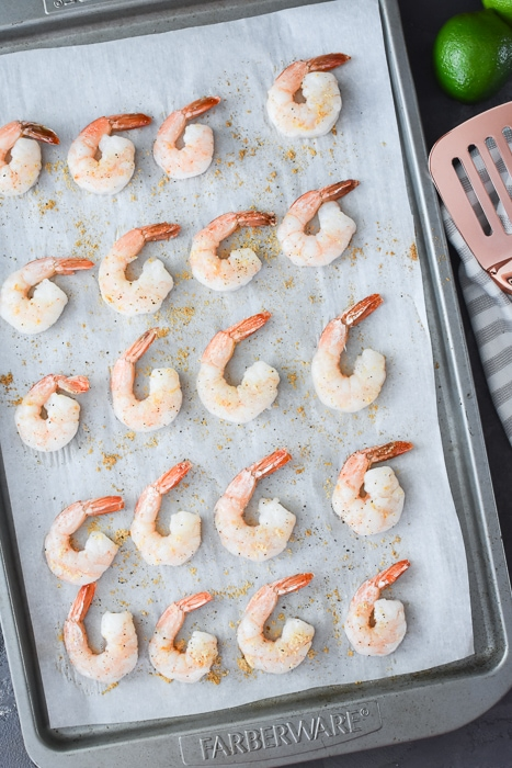 cooked ginger shrimp for the spicy thai shrimp salad