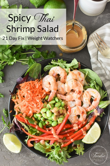 This Spicy Thai Shrimp Salad is 21 Day Fix and Weight Watchers friendly and is full of sweet and spicy flavors! A perfect healthy lunch! #21dayfix #mealprep #ww #weightwatchers #weightloss #seafood #healthy #healthylunch #glutenfree #dairyfree #lunch