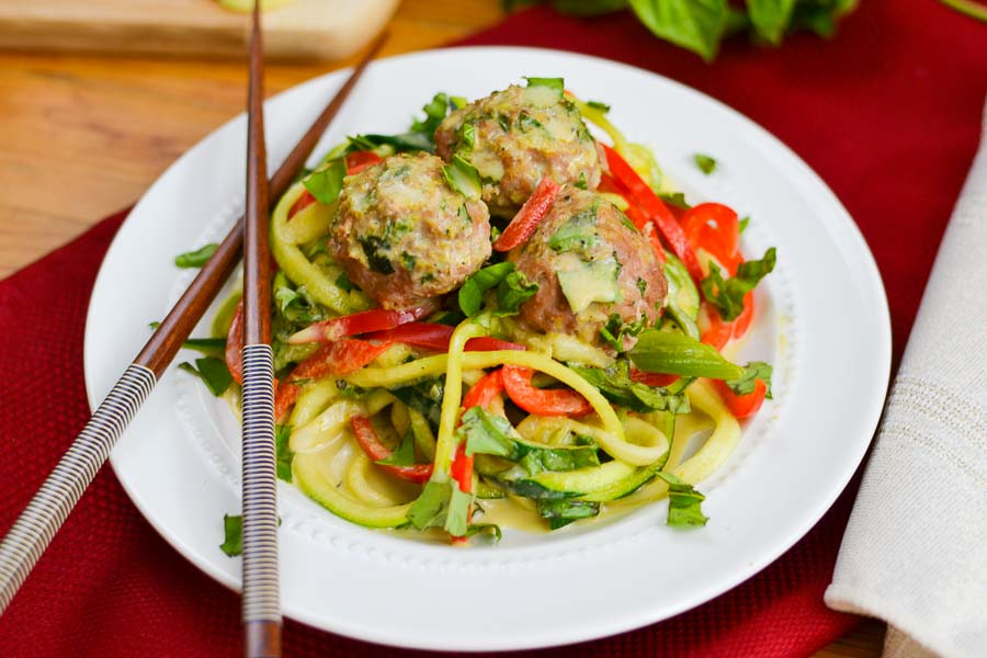 Basil Green Curry Zoodles with Asian Meatballs