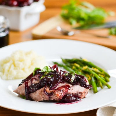 Healthy 5-Ingredient Cherry-Balsamic Pork {Instant Pot | Oven}