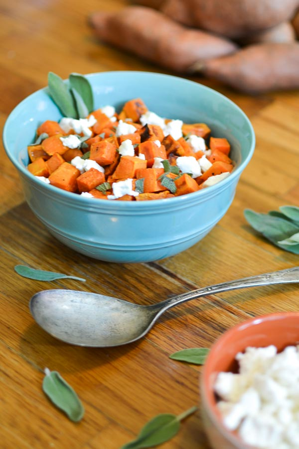Roasted Sweet Potatoes with Goat Cheese & Sage