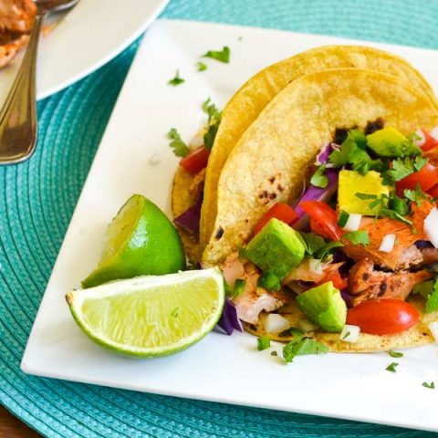 Salmon Tacos with Deconstructed Guacamole