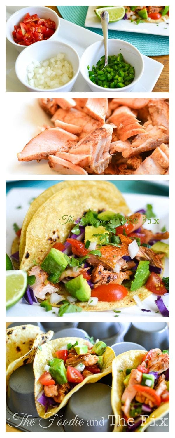 21 Day Fix Salmon Tacos with Deconstructed Guacamole are a quick, delicious and healthy dinner!