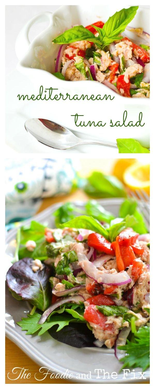 No mayo mediterranean tuna salad the foodie and the fix for Tuna fish salad calories