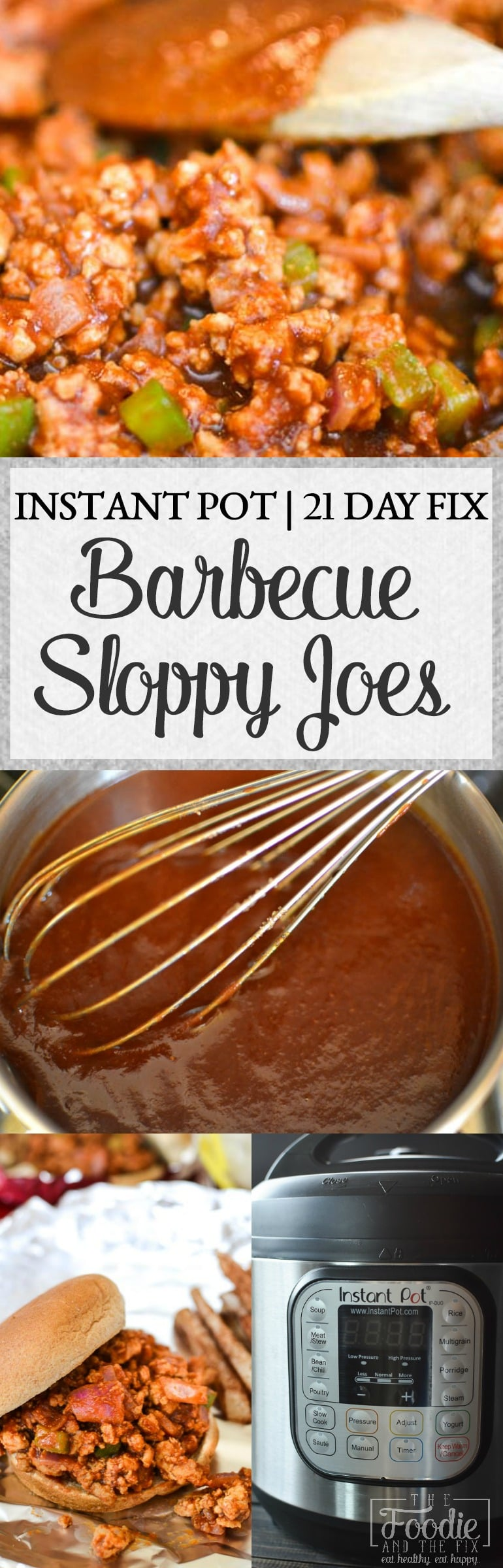 The sloppy joe gets a healthy, Manwich-freereboot in these delicious Instant Pot BBQ Sloppy Joes. This is one of our families favorite super fast kid-friendly dinners! Great for lunches and for meal prepping! #instantpot #quick #kidfriendly #healthy #21dayfix #dinner #lunch #mealprep #glutenfree