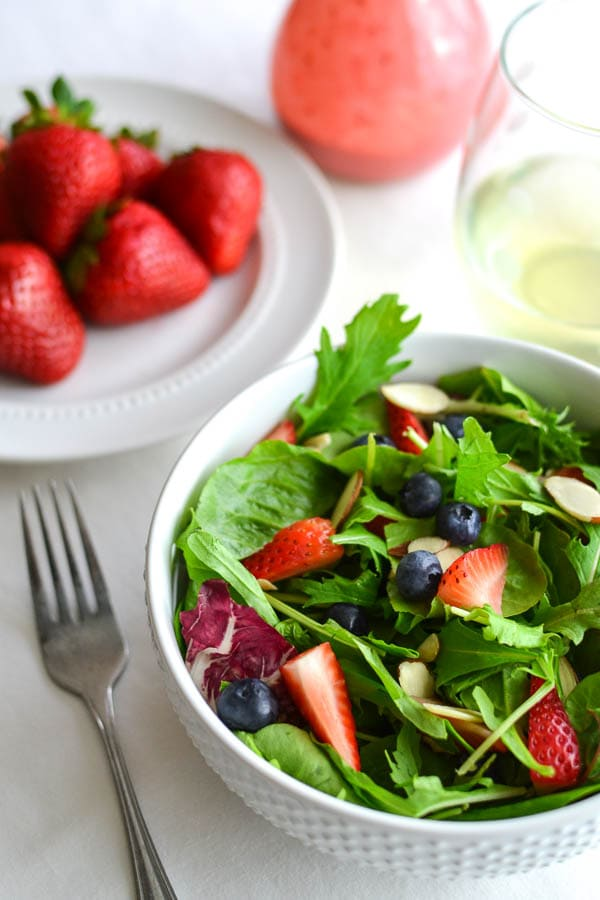 Berry-Almond Salad with Strawberry Goat Cheese Dressing