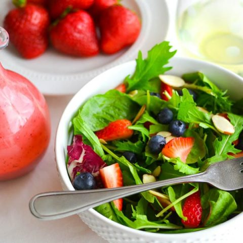 Berry-Almond Salad with Strawberry-Goat Cheese Dressing and Basil