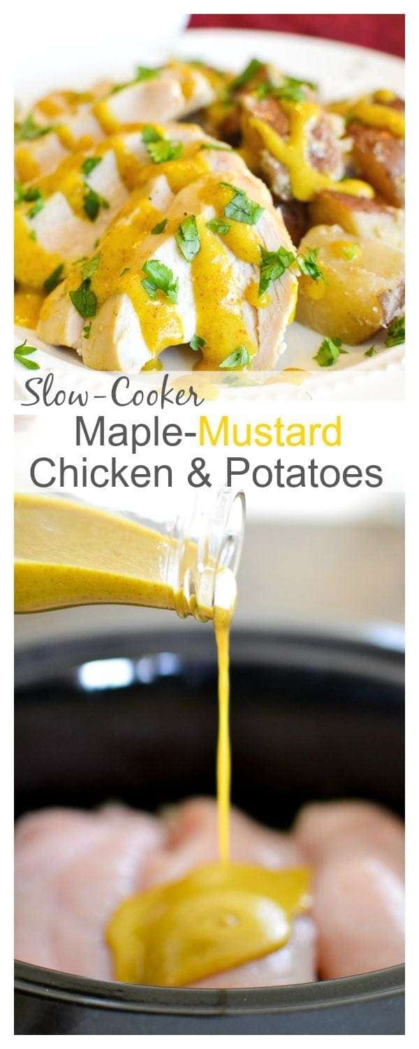 Slow-Cooker Maple-Mustard Chicken & Potatoes #21dayfix #slowcooker #weightwatchers #weightloss #mealplan #mealprep #healthydinner #kidfriendly #healthyrecipes #dinner #glutenfree #dairyfree