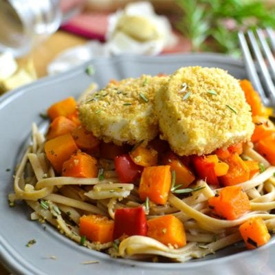 Crispy Baked Goat Cheese over Roasted Rosemary Squash and Garlicky Fettuccine