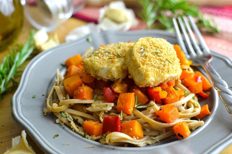 Crispy Baked Goat Cheese and Rosemary-Roasted Butternut Squash over Garlic-y Whole Wheat Fettuccine