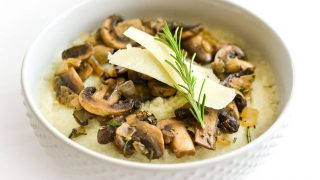 Pecorino Mashed Cauliflower with Sherry-Rosemary Mushrooms