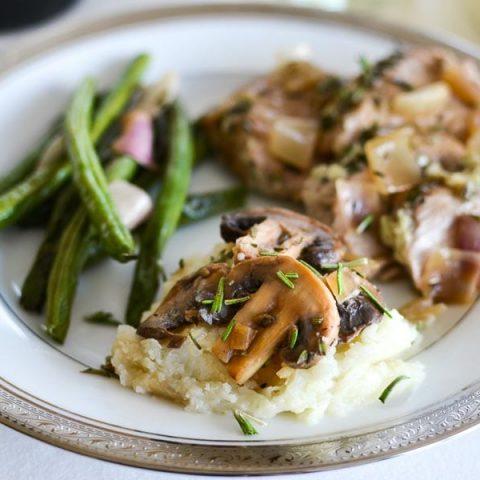 Pecorino Mashed Cauliflower with Sherry-Rosemary Mushrooms