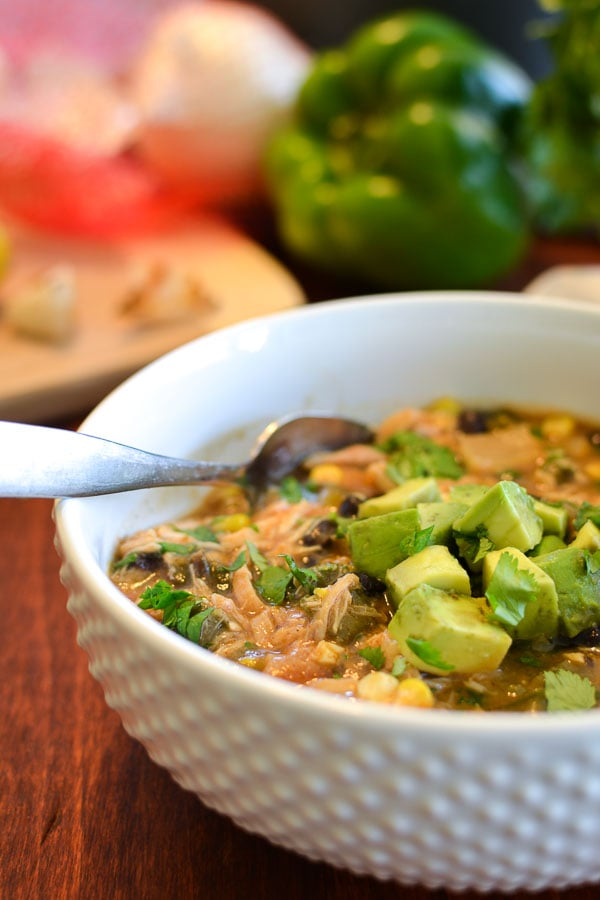 Roasted Vegetable Chicken Chili with Avocado