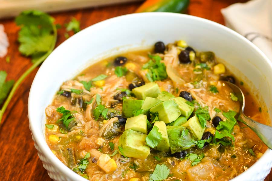 Southwest Chicken & Roasted Vegetable Soup with Avocado