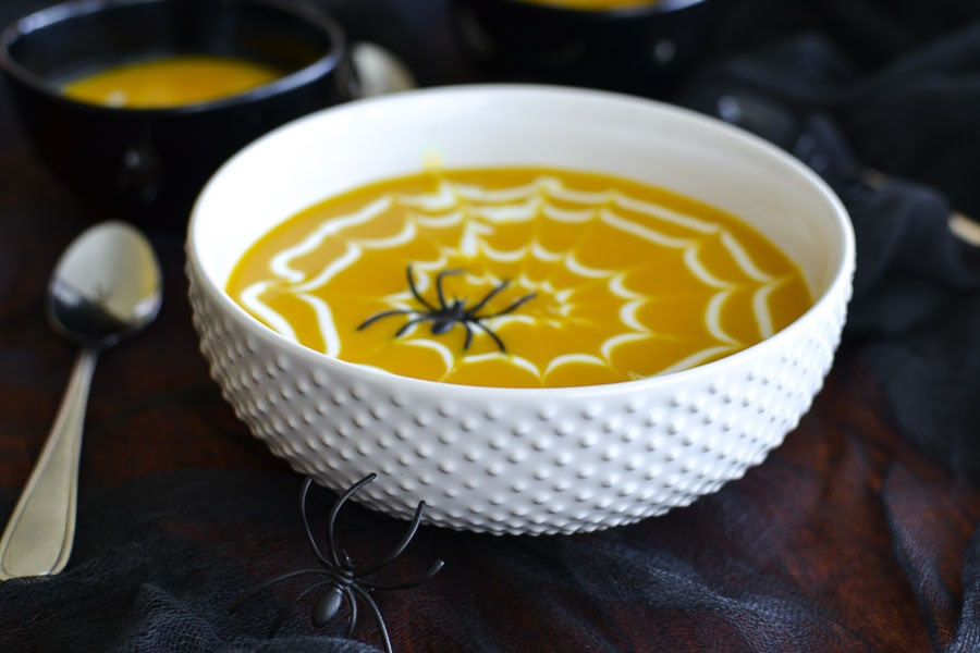 Coconut Curry Butternut Squash Soup with a Coconut Yogurt Spiderweb