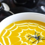 Coconut Curry Butternut Squash Soup with a Coconut-Yogurt Spider Web
