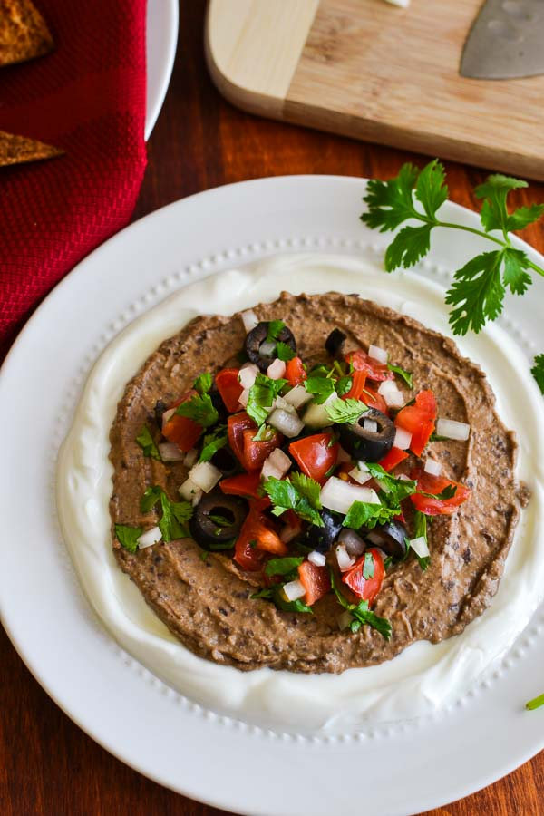 Black Bean Hummus Taco Dip with Pita Chips