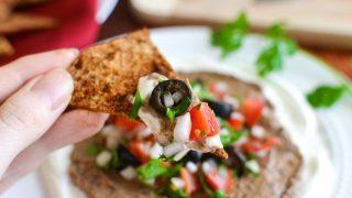 Black Bean Hummus Taco Dip with Pita Chips