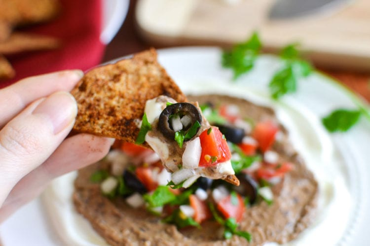 Black Bean Hummus Taco Dip with Pita Chips {21 Day Fix}