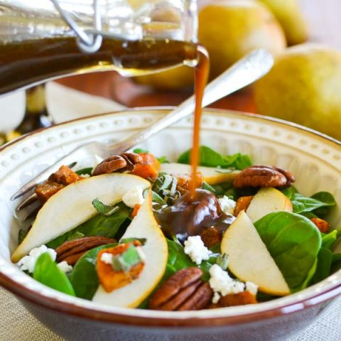 Pear & Butternut Squash Salad with Maple Balsamic Vinaigrette