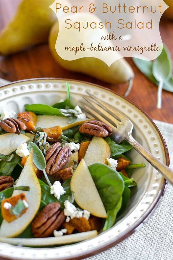 This delicious, 21 Day Fix Pear and Butternut Squash Salad is perfect for Thanksgiving or any day for lunch! That maple-balsamic dressing is amazing! #21dayfix #2bmindset #fall #thanksgiving #healthy #lunch #healthylunch #glutenfree #healthythanksgiving #mealprep