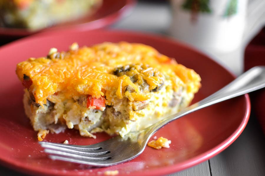 healthy make ahead sausage and egg breakfast casserole