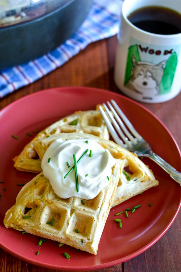 Cheddar and Chive Savory Waffles