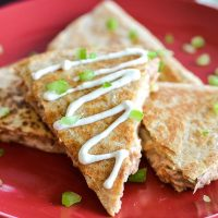 Spicy Tuna Quesadilla with 2-Ingredient Blue Cheese Dressing