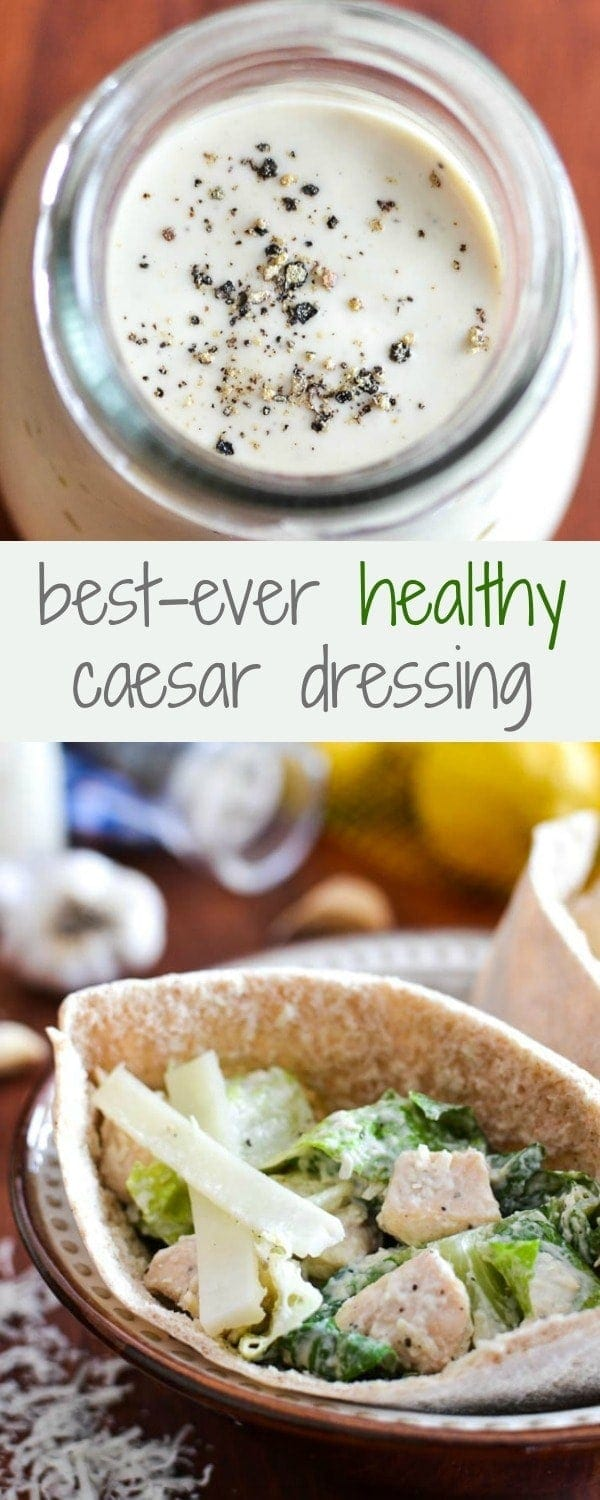 Best-Ever Healthy Caesar Dressing + Caesar Salad Pita Pocket