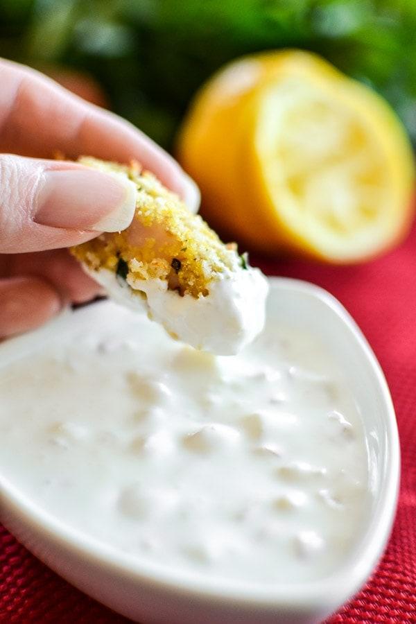 Crispy Fish Bites with Lemon-Shallot Dipping Sauce