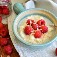 Coconut Millet Porridge with Raspberries