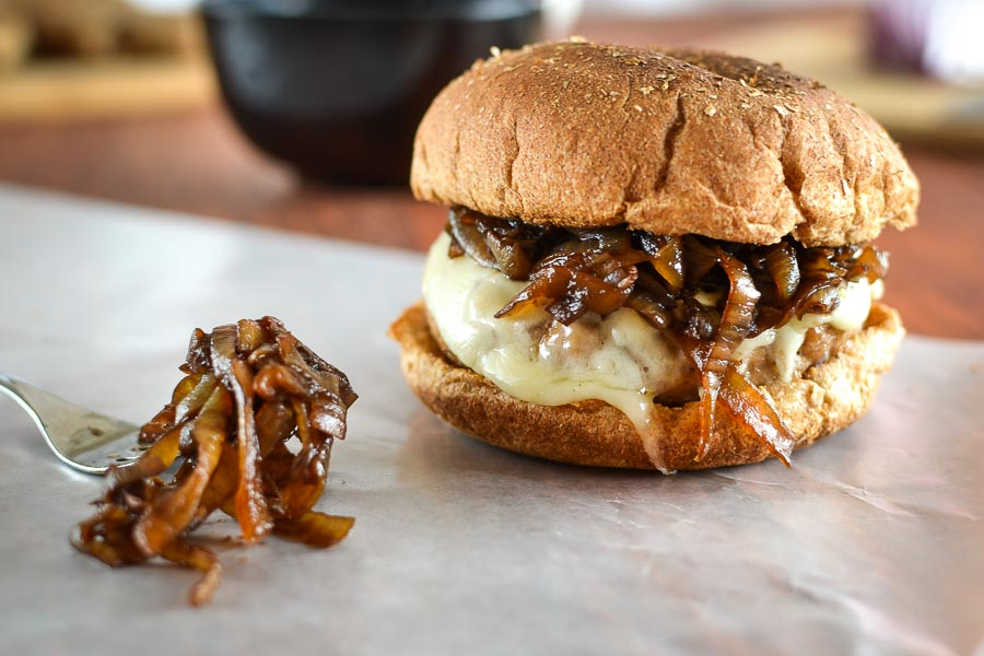 Balsamic Caramelized Onion Turkey Burgers
