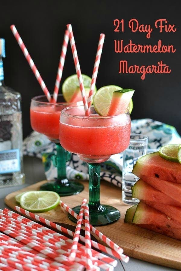 This 21 Day Fix Watermelon Margarita has less than half of the calories in a traditional fruit margarita and is sweet, refreshing and absolutely delicious. With only 3 ingredients, you can't beat the ease of this summer-in-a-glass recipe. #summer #21dayfix #glutenfree #party