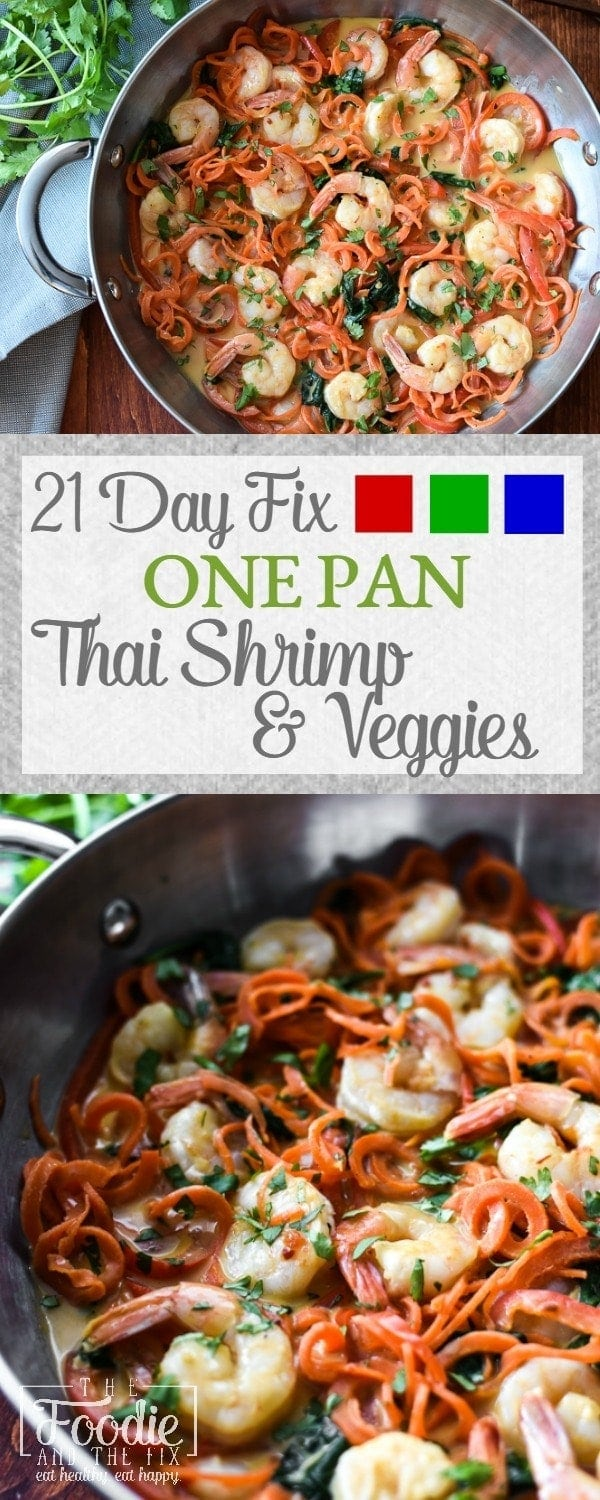 A 21 Day Fix version of the classic Thai dish, Swimming Rama. This recipe includes shrimp, vegetables and a delicious peanut-coconut sauce. A quick, healthy dinner that can easily be made family-friendly! Gluten-free. #glutenfree #21dayfix #mealprep #weightwatchers #dairyfree, #thai #asian #healthy #dinner #healthydinner #onepan #seafood #shrimp #weightloss #quick #quickdinner