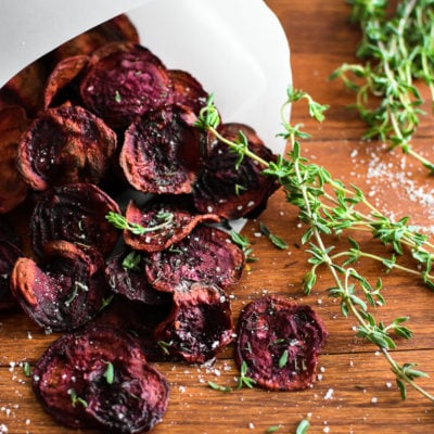 Sea Salt and Thyme Baked Beet Chips