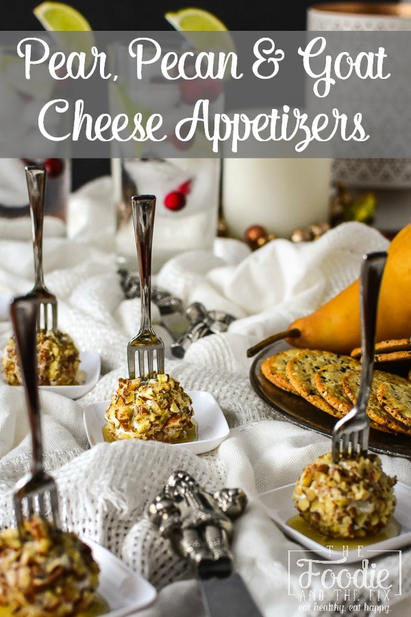 21 Day Fix Mini Pear, Pecan and Goat Cheese Appetizers - These easy appetizers are great for the holidays or even for game day! #healthy #holiday #christmas #thanksgiving #healthyappetizer #appetizer #gameday #partyfood #21dayfix #potluck  #healthyholiday