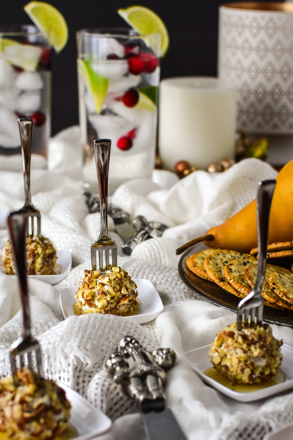 21 Day Fix Mini Pear, Pecan and Goat Cheese Appetizers with Honey - the PERFECT healthy holiday appetizer recipe! Gluten-free, too! Serve with your fav whole grain crackers or toasted bread.