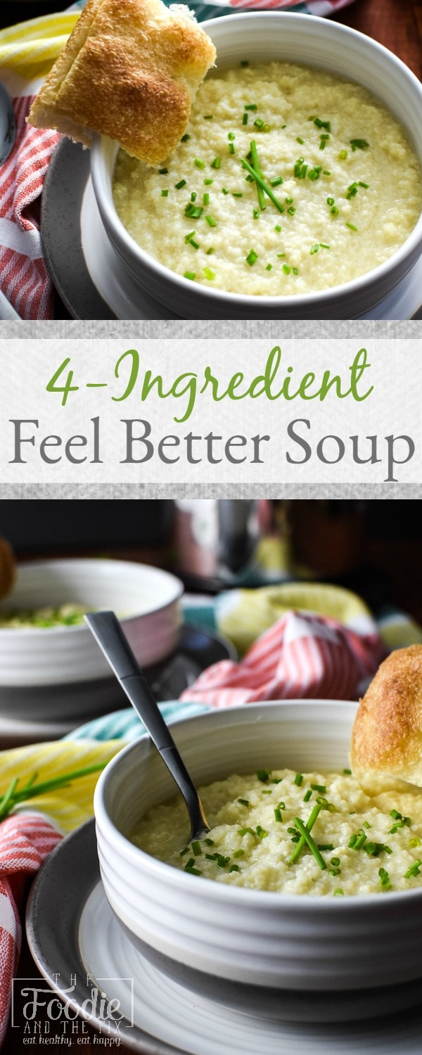 This easy, quick, 21 Day Fix approved 4-Ingredient Feel Better Soup is the most deliciously comforting thing that you can make with four ingredients. Comes together in about 10 minutes and can be made in an Instant Pot or on the stove top! #instantpot #21dayfix #kidfriendly #soup #healthy #mealprep #lunch #dinner