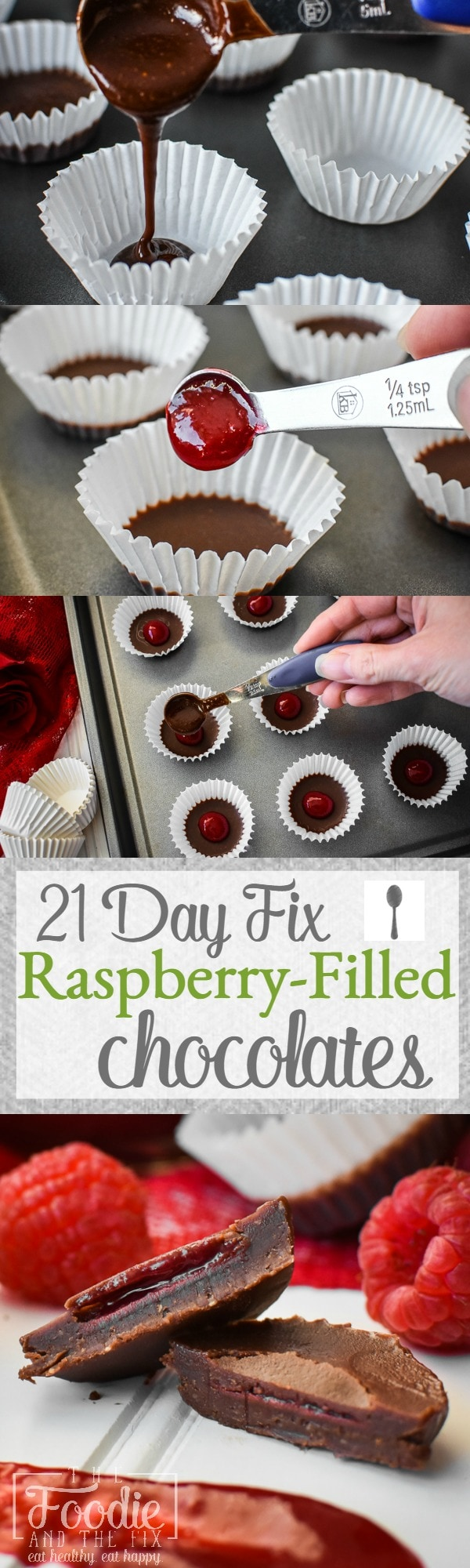 These delicious raspberry-filled chocolates are the perfect sweet treat for Valentine's Day! Counts as 1 teaspoon on the 21 Day Fix! Gluten free, vegan.
