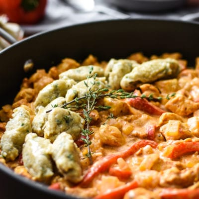 Healthy Chicken Paprikash with Black Pepper and Herb Dumplings