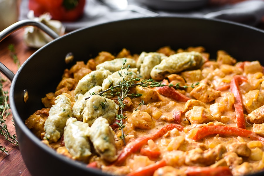 This 21 Day Fix version of Chicken Paprikash has flavorful & tender black pepper & herb dumplings and is basically a big bowl of healthy, Hungarian comfort.