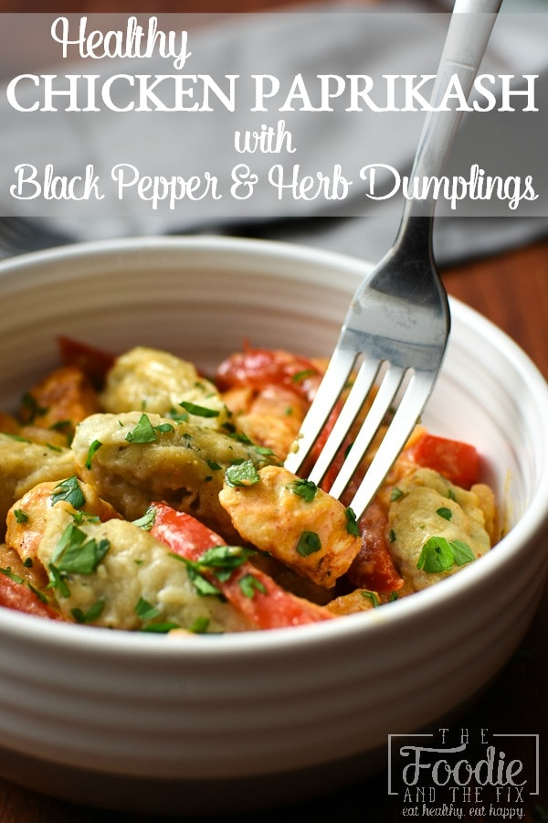 This 21 Day Fix version of Chicken Paprikash has flavorful & tender black pepper & herb dumplings and is basically a big bowl of healthy, Hungarian comfort. #kidfriendly #hungarian #dinner #healthydinner #mealprep #21dayfix #2bmindset #weightloss #healthy