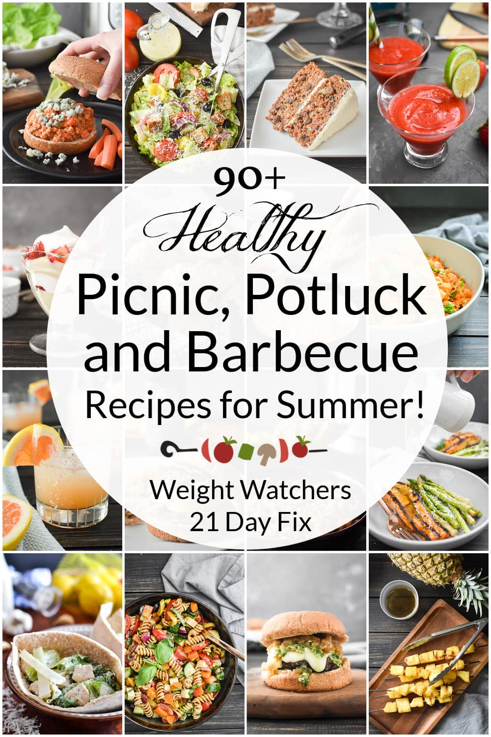 The BEST healthy 21 Day Fix Picnic, Potluck & Barbecue Recipes for all of your summer party needs! Includes main dishes, sides, snacks, drinks and desserts! Weight Watchers friendly, too! #21dayfix #healthy #summer #grill #grilling #picnic #potluck #weightwatchers #barbecue #kidfriendly #weightloss