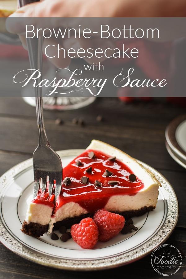 Brownie-bottom cheesecake with raspberry sauce graphic