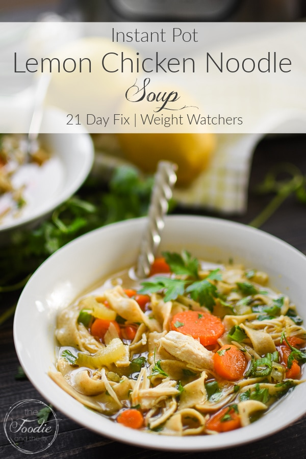 Bowl of Lemon Chicken Noodle Soup