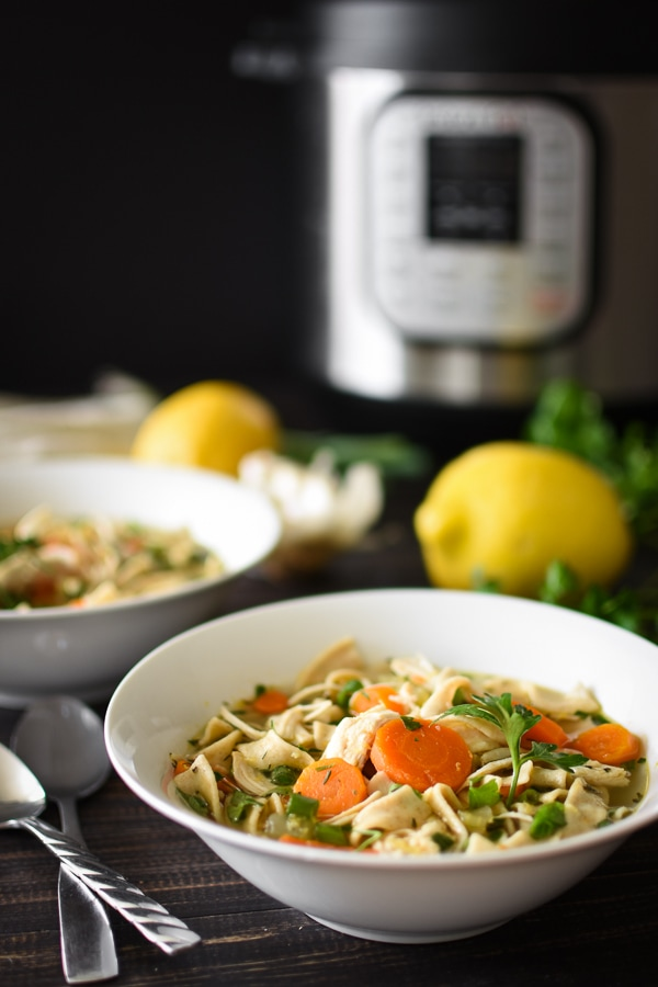 The addition of lemon and green onions brightens up my 21 Day Fix Instant Pot Lemon Chicken Noodle Soup while the Instant Pot makes it SO quick, easy and healthy!