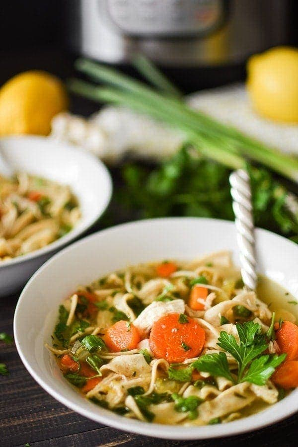 Instant Pot Lemon Chicken Noodle Soup {21 Day Fix}