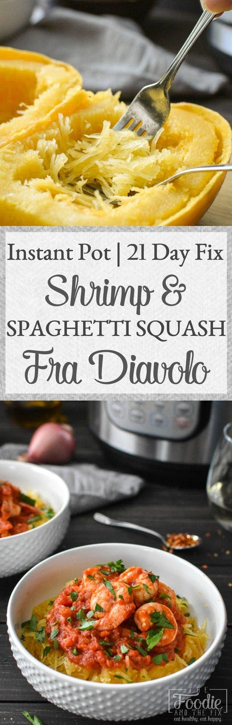 This 21 Day Fix Instant Pot Shrimp and Spaghetti Squash Fra Diavolo is an easy, delicious dinner that's on your table in 30 minutes! Gluten Free | Dairy Free