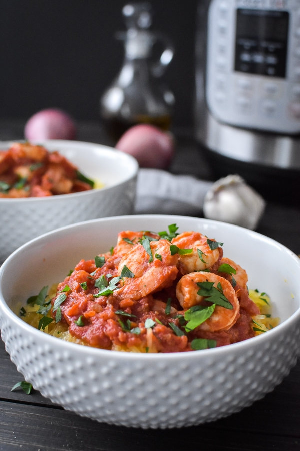 This 21 Day Fix Instant Pot Shrimp and Spaghetti Squash Fra Diavolo is an easy, delicious dinner that's on your table in 30 minutes! Gluten Free   Dairy Free