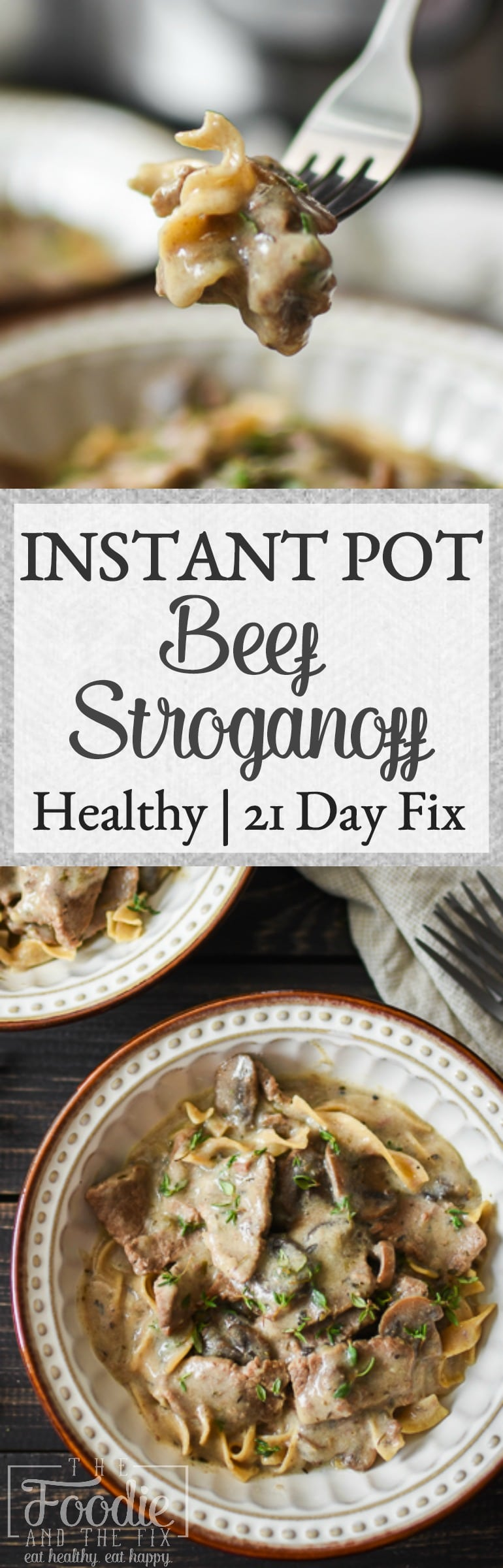 This 21 Day Fix Instant Pot Beef Stroganoff is my healthy take on the classic family dinner! There's nothing better than having tender beef and pasta in this creamy, mushroom-y sauce on your table in under an hour. #instantpot #21dayfix #kidfriendly #dinner #healthy